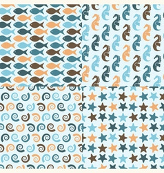 seamless pattern with sea crestures vector image
