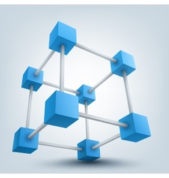 3d cubes with connections vector