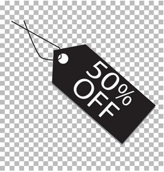 50 percent tag on transparent 50 percent tag vector image