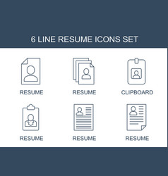 6 resume icons vector