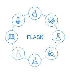 8 flask icons vector