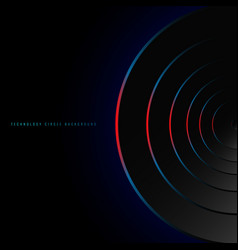 Abstract blue and red neon glowing circles vector