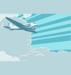 air transport is flying in sky plane retro vector image