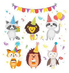 Animals in festive cone hats vector