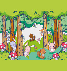 Animals in the forest doodles cartoons vector