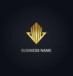 arrow building abstract company gold logo vector image