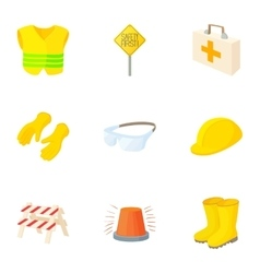 Asphalt works icons set cartoon style vector image