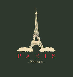 Banner with eiffel tower in paris france vector