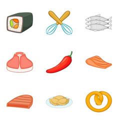 beefsteak icons set cartoon style vector image