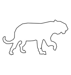 Big wild feline outline icon vector