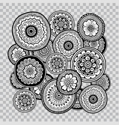 Black and white floral coloring on transparent vector