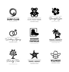 black corporate business logo design set vector image