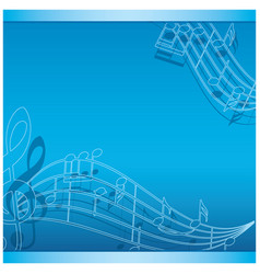 Blue background with music notes - flyer vector