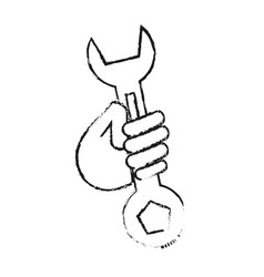 Blurred silhouette cartoon man holding a wrench vector