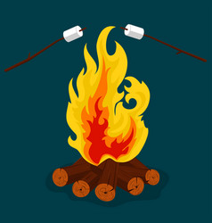Bonfire - camping burning woodpile campfire or vector