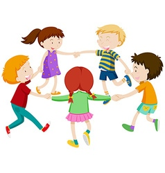 Boys and girls holding hands in circle vector