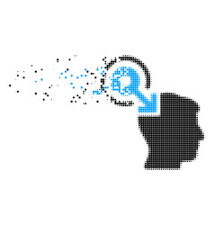 Brain interface plug-in fragmented pixel icon vector