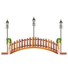 Bridge with wooden fence and lamp vector image