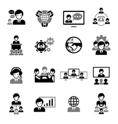Business Meeting Icons Black vector image
