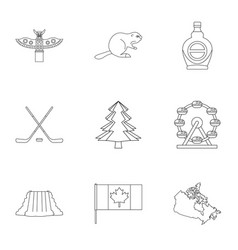 Canada icon set outline style vector