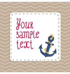 Card background with anchor and waves vector