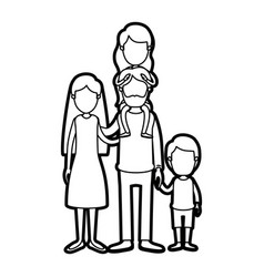 Caricature thick contour faceless family parents vector