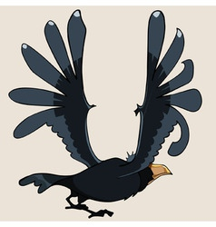 Cartoon black bird crow flapped its wings vector