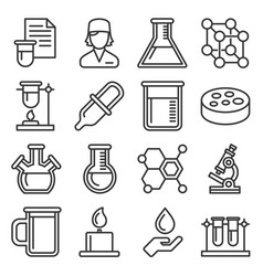 chemical icons set on white background line style vector image