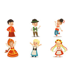 Children in national clothes from different vector