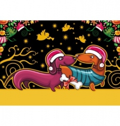Christmas dachshunds vector image