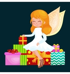 Christmas holiday girl angel with wings and gifts vector