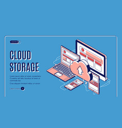 cloud storage landing page on retro background vector image