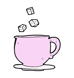 comic cartoon teacup with sugar cubes vector image