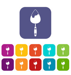 Construction trowel icons set vector