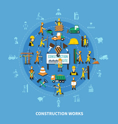 Construction worker colored composition vector