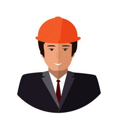 construction worker face icon engineer flat vector image