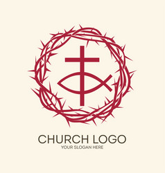 Crown thorns cross and fish vector