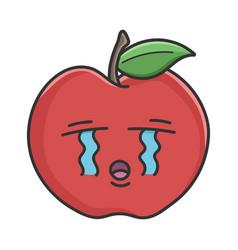 Crying red apple cartoon apple vector