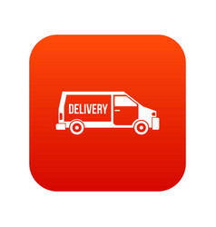 delivery truck icon digital red vector image