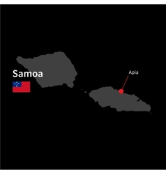 Detailed map of Samoa and capital city Apia with vector image