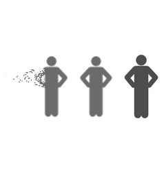 Disintegrating pixel halftone akimbo pose icon vector