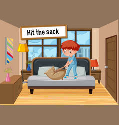 English idiom with picture description for hit vector