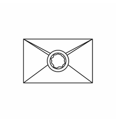 Envelope with wax seal icon outline style vector image
