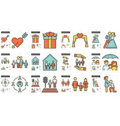Family line icon set vector