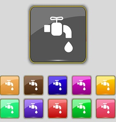 Faucet icon sign Set with eleven colored buttons vector