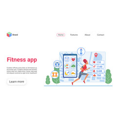 fitness app landing page template vector image