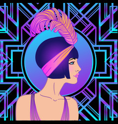Flapper girl art deco 1920s style vintage vector