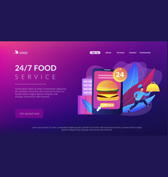 Food delivery service concept landing page vector