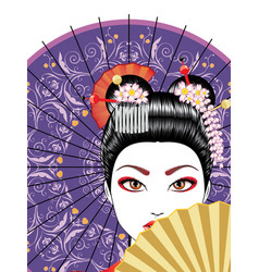 geisha with fan vector image
