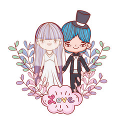 girl and boy couple marriage with clouds vector image